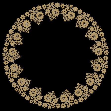 A floral round drawing with a place for text. Vector illustration.