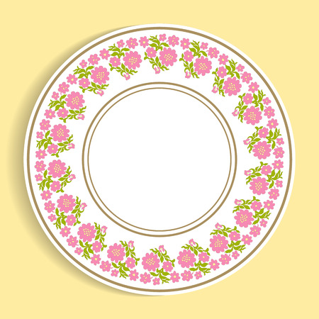 Decorative plate with a circular pattern. Vector illustration.