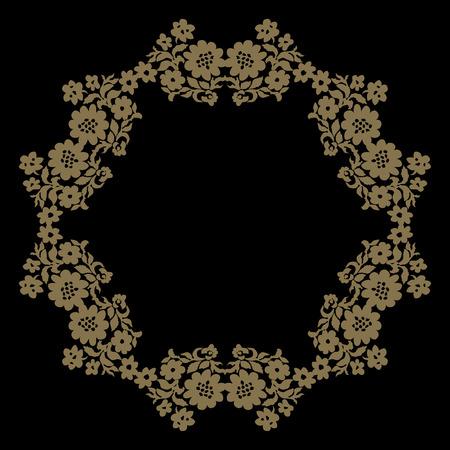 Decorative line art frame for design template. Elegant vector element Eastern style, place for text. Golden outline floral border. Lace illustration for invitations and greeting cards. Illustration