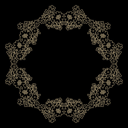 Decorative line art frame for design template. Elegant vector element Eastern style, place for text. Outline floral border. Lace illustration for invitations and greeting cards.
