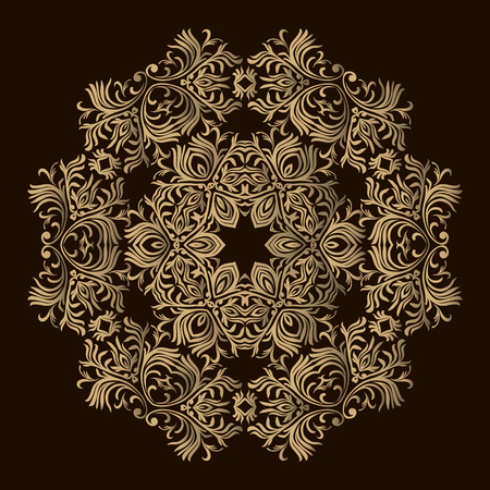 Laser cutting mandala. Golden floral pattern. Oriental silhouette ornament. Round design element. Can be used for wallpaper, background, surface texture 向量圖像