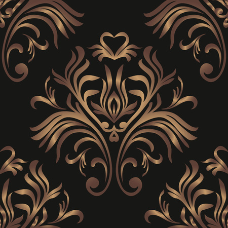 Vintage seamless pattern. Floral ornate wallpaper. Dark vector damask background with decorative ornaments and flowers in Baroque style. Luxury endless texture.interior, wallpaper, pattern, seamless