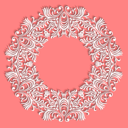 Paper lace doily, decorative snowflake, mandala, round ornament, vector eps8