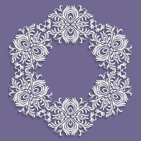 Paper lace doily, decorative snowflake, mandala, round ornament, Round design element. Can be used for wallpaper, background, surface texture, vector eps8
