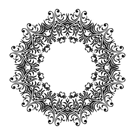 Decorative line art frames for design template. Elegant element for design in Eastern style, place for text. Black outline floral border. Lace vector illustration for invitations and greeting cards
