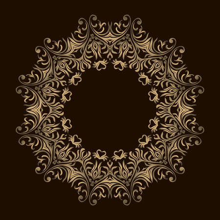 Background with gold ornament mandala. For wedding invitation, book cover or flyer. Round design element. Can be used for wallpaper, background, surface texture 向量圖像