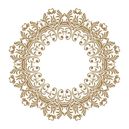 Vector decorative line art frames for design template. Elegant element for design, place for text. Golden outline floral border. Lace illustration for invitations and greeting cards 向量圖像