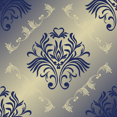 Vector floral damask pattern. Rich ornament, old Damascus style. Royal victorian seamless pattern for wallpapers, textile, wrapping, wedding invitation