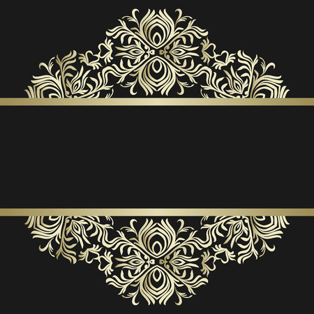 Vintage background, antique, victorian gold ornament, baroque frame, beautiful old paper, card, ornate cover page, label; floral luxury ornamental pattern template for design