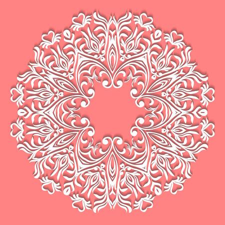 Hand lace Napkin. Beautiful elegant vintage knitted lacy napkin. Table decoration or wedding invitation. Round lace pattern. Decorative element, Eps 8 向量圖像
