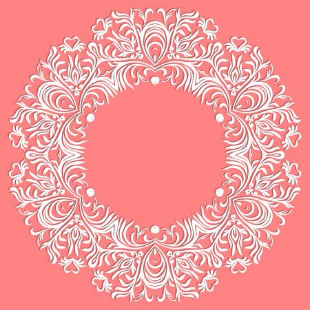 Paper lace doily, decorative snowflake, mandala, round ornament, vector eps 8 向量圖像