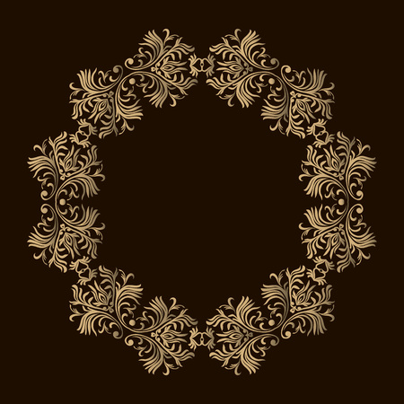 Decorative line art frames for design template. Elegant element for design in Eastern style, place for text. Golden outline floral border. Lace illustration for invitations and greeting cards