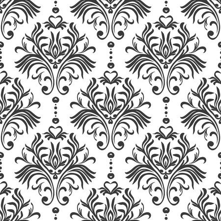 Vintage seamless pattern. Floral ornate wallpaper. Vector damask background with decorative ornaments and flowers in Baroque style. Luxury endless texture.