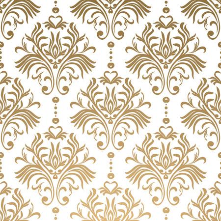 Motif damassé floral de vecteur. Ornement riche, style ancien Damas. Modèle sans couture victorien royal pour papiers peints, textile, emballage, invitation de mariage. EPS10