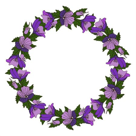 Vintage vector frame with summer flowers. Flower wreath for beautiful design.