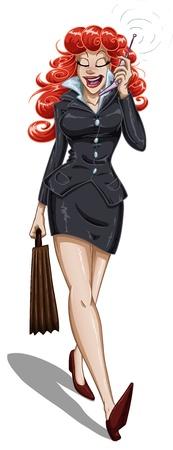 mujeres dinero: Una ilustraci�n vectorial de una mujer de negocios de cabeza roja caminando con un malet�n y hablando por su tel�fono celular. Vectores
