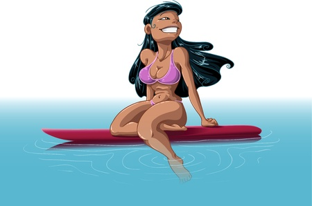 A vector illustration of an Hawaiian woman wearing a bikini, sitting on a surfboard in the middle of the ocean. Stock Vector - 9698733