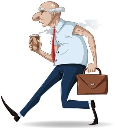 Een vector illustratie van een oude zakenman wandelen met een koffer en een hot take-away kopje koffie.