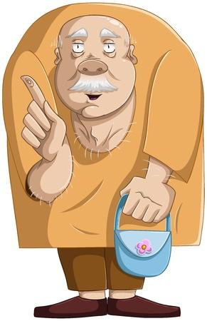 corcovado: una ilustraci�n vectorial de un buen hombre de edad permanente, manteniendo un bolso azul y apuntando con su dedo para hacer una pregunta.