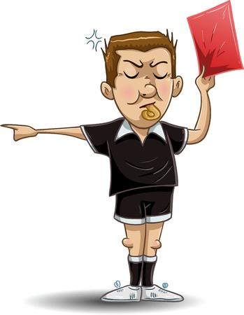 Una ilustración vectorial de un árbitro de fútbol silbatos, mantiene una tarjeta roja y apunta al lado. Ilustración de vector