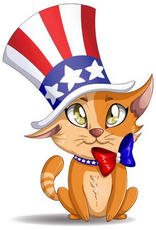 illustration of an orange kitten wearing a hat and bow designed as the american flag for the 4th of July. 일러스트