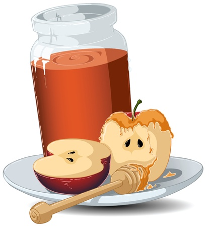 An Illustration of a glass jar filled with honey sets on a plate with a sliced apple covered with honey and a wooden stick on the side. Illustration