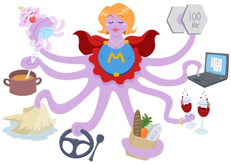 An Illustration of an octopus mother dressed as a superhero and doing actions such as lifting weights, working on a laptop, having drinks, shopping for grocery, driving, cleaning, cooking and taking care of her baby.