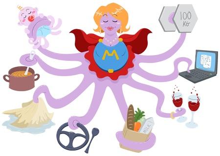 Una ilustración de una madre pulpo vestido como un superhéroe y hacer acciones tales como levantar pesas, trabajando en un equipo portátil, con bebidas, tiendas de abarrotes, conducción, limpiar, cocinar y cuidar de su bebé. Ilustración de vector