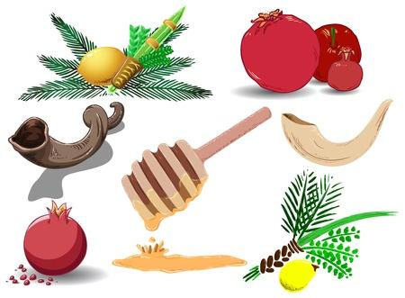 Een pak van Vector illustraties van beroemde Joodse symbolen voor de Joodse feestdagen Nieuwjaar, Yom Kipur en Soekot. Stock Illustratie