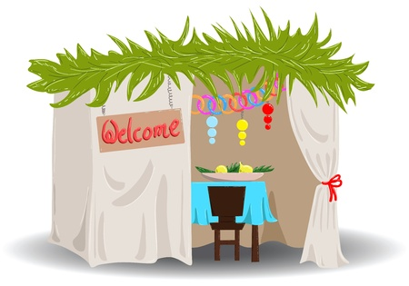 A Vector illustration of a Sukkah decorated with ornaments for the Jewish Holiday Sukkot. Vectores