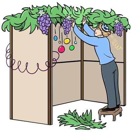 Een vector illustratie van een joodse man staande op een krukje en het bouwen van een Soeka voor het Joodse vakantie Soekot. Stock Illustratie