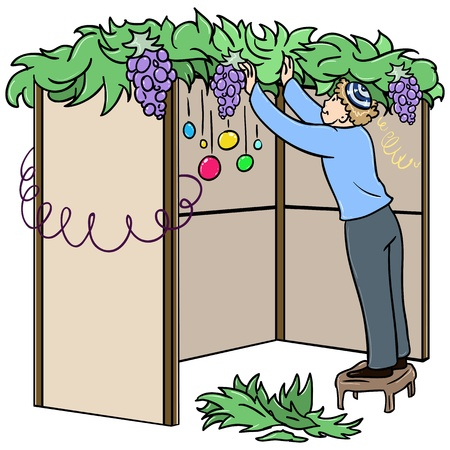 A vector illustration of a Jewish guy standing on a stool and building a Sukkah for the Jewish holiday Sukkot.