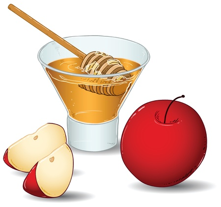 A vector illustration of a glass filled with honey and a special honey serving spoon and an apple and two slices of apple. Vector