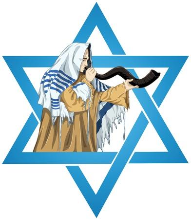 Een vector illustratie van een rabbijn met Talit blaast de sjofar met de ster van David voor de joodse feestdag Jom Kippoer. Stock Illustratie