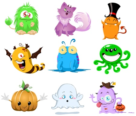 An illustration of cute funny and scary monsters for Halloween.
