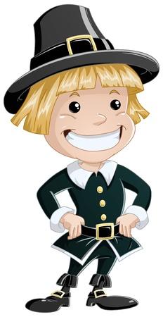 illustratie van een kolonist jongen dragen traditionele kleding voor Thanksgiving.