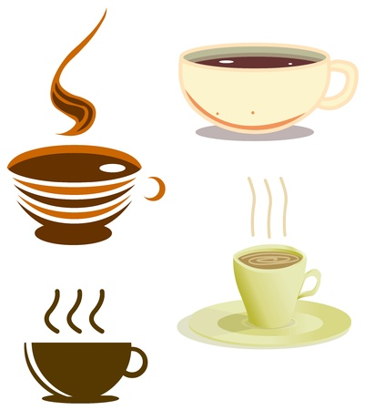 A pack of vector illustrations of coffee cups in various styles  Illustration