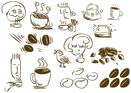 symbols metaphors: A pack of vector illustrations of coffee related doodles  Illustration