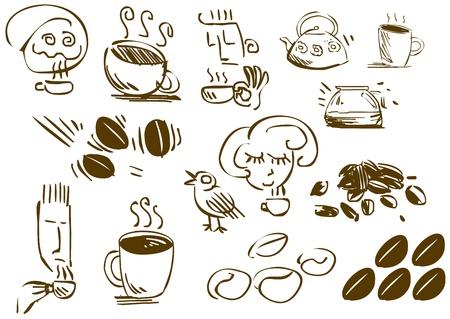 Een pak van vector illustraties van koffie gerelateerde doodles