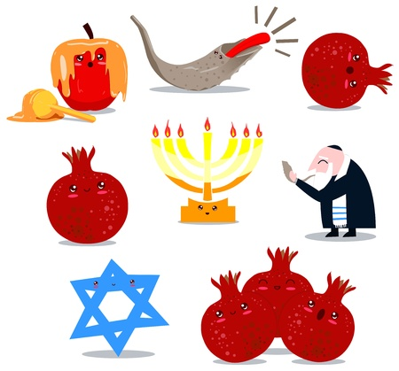 A pack of Vector illustrations of famous Jewish symbols for the Jewish Holidays New Year and Yom Kipur  Vector