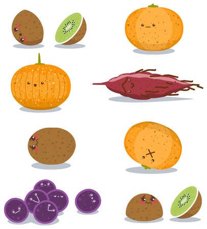 A pack of vector illustration of grapes sweet potato kiwi and orange in funny poses. Illustration