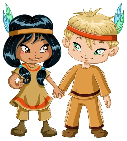 A vector illustration of children dressed as indians and holding hands for thanksgiving or halloween. Çizim