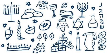 Een pak van vectorillustraties van Chanoeka gerelateerd doodles voor de Joodse vakantie