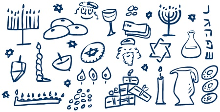 A pack of vector illustrations of Hanukkah related doodles for the Jewish holiday
