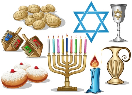 A pack of Vector illustrations of famous symbols for the Jewish Holiday Hanukkah. Vector