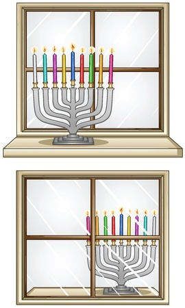A Vector illustration of Hanukkiah with candles in front and behind a window for the Jewish holiday Hanukkah. Stock Vector - 15976523