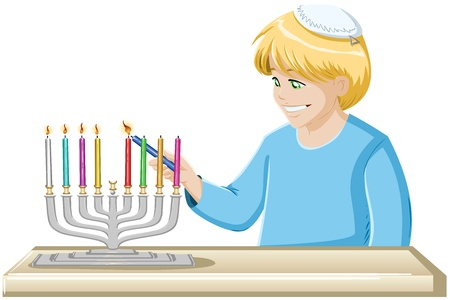 yamaka: A vector illustrations of a jewish boy lighting Hanukkiah candles for Hanukkah.