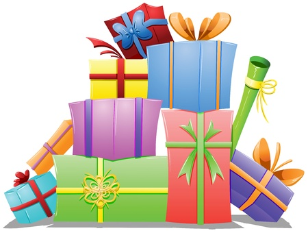 A vector illustration of a pile of gift boxes wrapped for the holidays. Illustration