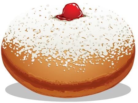 Een vector illustratie van Sufganiyah dat is een Donut voor het Joodse Vakantie Chanoeka.