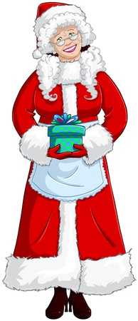A vector illustration of Mrs Claus holding a present for Christmas and smiling